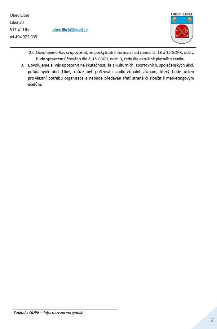 GDPR prohlášení - část 2